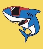 lindo personaje de dibujos animados de tiburón con gafas rojas vector