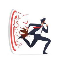 hombre de negocios correr rompiendo tiro con arco al objetivo exitoso vector