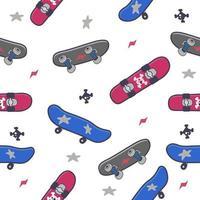 Cute doodle skateboards seamless pattern vector