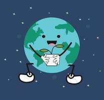 cute cartoon Earth holding plant vector