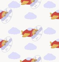 avión de aire de dibujos animados vector de patrones sin fisuras