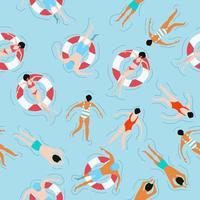 gente nadando patrón de verano vector