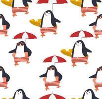 Summer penguins vector seamless pattern