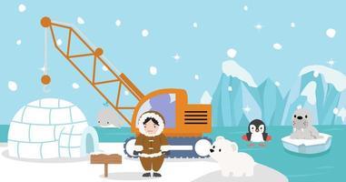 Eskimo with Artic animal of Iceberg vector
