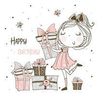 tarjeta de cumpleaños de una princesa con regalos