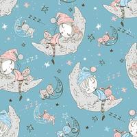 Children in pajamas sleeping on the lunar moon.