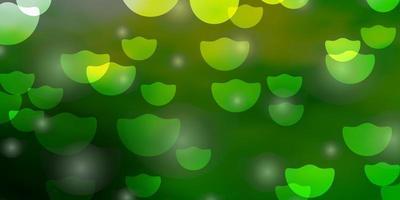 fondo verde claro, amarillo con círculos