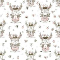 Seamless pattern with cute forest fairies