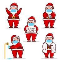 Cute Santa Claus Wearing Mask Corona Virus Design Set vector