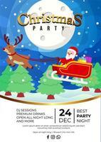 diseño de cartel de evento de fiesta de navidad con lindo santa