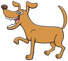 Cartoon playful dog funny animal character vector
