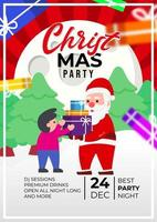 Christmas Party Event Poster Design With Cute Santa Claus vector