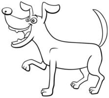 Cartoon playful dog character coloring book page
