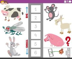 Educational game with large and small animal species vector