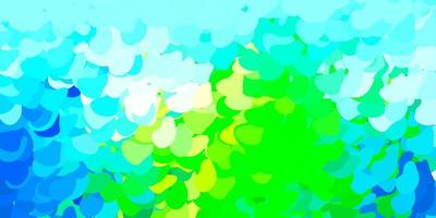 Light blue, green template with abstract forms.