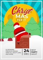 Christmas Party Event Poster Design With Cute Santa Claus
