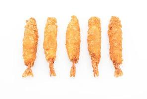 Batter-fried prawns on white background
