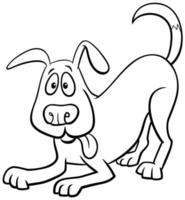 Cartoon dog character coloring book page