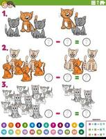 Tarea educativa de resta de matemáticas con gatos.