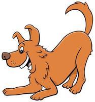 Cartoon playful dog animal character