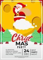 diseño de cartel de evento de fiesta de navidad con lindo santa claus