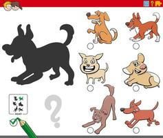 Shadows task with playful dogs characters vector