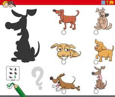 Shadows task with dogs and puppies characters vector
