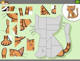 juego de rompecabezas con personaje de dibujos animados gato vector