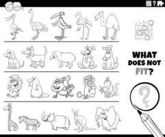 encontrar una imagen incorrecta en una página de libro de color de juego de fila
