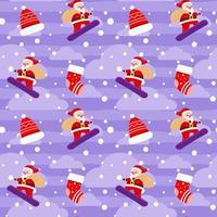 Christmas Cute Santa Claus Snow board Gift Box Violet Pattern vector