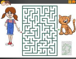 juego de laberinto con niña de dibujos animados y gatito
