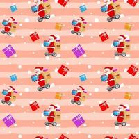 Christmas Cute Santa Claus Hover board Gift Box Pink Pattern vector