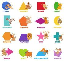 Geometric shapes with dogs and puppies set