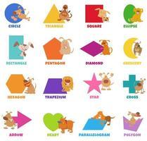 Conjunto de formas geométricas con perros y cachorros. vector