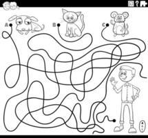 Laberinto con niño y mascotas página de libro para colorear