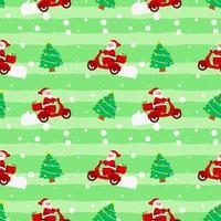navidad lindo santa claus motocicleta árbol caja de regalo entrega verde patrón para papel de regalo