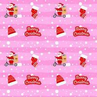 navidad lindo patrón de santa claus con scooter