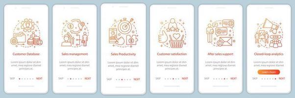 página de aplicación móvil de incorporación de marketing