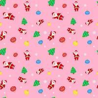 navidad lindo santa claus árbol rosa patrón para papel de regalo