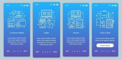 pantalla de la página de la aplicación móvil de incorporación de compras por internet