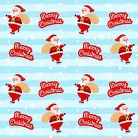 navidad lindo santa claus patinaje sobre hielo con patrón de regalo