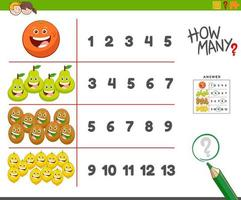 Counting task with happy fruit characters vector