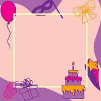 elementos de tarjeta de cumpleaños y fiesta