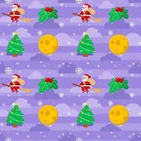 Christmas Cute Santa Claus on Broom Stick