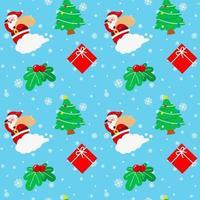 Christmas Santa Claus Cloud Tree Cherry Gift Box vector