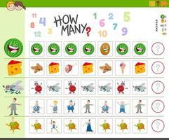 juego de contar para niños con personajes de dibujos animados vector