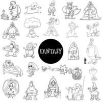 Cartoon fantasy characters large set color book page