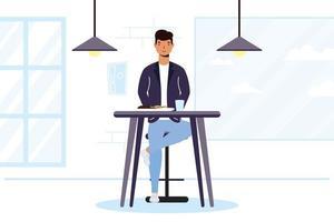 joven sentado en un restaurante vector