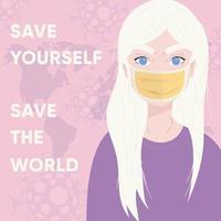 cartel de coronavirus 2019-ncov con una niña