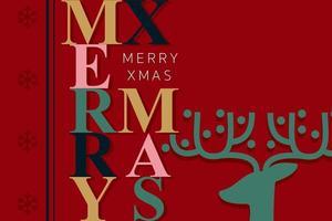 tarjeta de felicitación roja feliz navidad